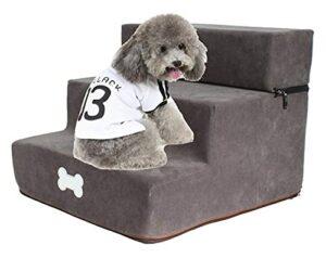 Escalier de compagnie pliable respirant pliable d'animaux de compagnie détachables animal de compagnie escaliers chien rampe de chien de 3 étapes petit chien chiot chiot animal de compagnie chat chat
