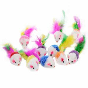 Famgee Lot de 20 jouets en fourrure pour chat avec queue en plumes (couleur aléatoire)