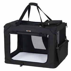FEANDREA Sac de Transport pour Chien, Caisse Pliable pour Chien Noir 91 x 63 x 63 cm PDC90H