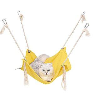 Hamac pour chat, en coton respirant, hamac pour animal domestique avec sangles réglables et crochet en métal pour suspendre un chat, un furet, un chiot ou d'autres petits animaux