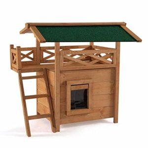 IDMarket – Maison pour Chat Lodge en Bois avec accès terrasse