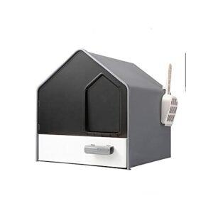 Litière pour chat entièrement fermée, type tiroir, désodorisant, anti-éclaboussures, pour chat de moins de 10 kg, fournitures pour animaux domestiques (coloris : gris, taille : 44 x 44 x 39 cm)
