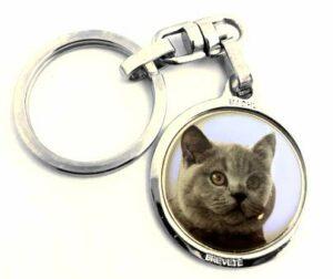 MACHU – Porte clés Chat British Shorthair – Chromée – Alliant robustesse et esthétique – .A l'effigie de Votre Meilleur ami.