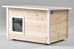 maison / cabane pour chat, avec chauffage et chatière, isolation thermique du sol et des murs