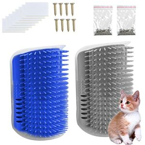Pinsheng 2 Pièces Brosse d'Angle de toilettage pour Chat, Chat de Peigne de Massage de Coin avec Herbe à Chat, Chat Groomer Brosse Peigne pour les chats à poils longs à poils courts