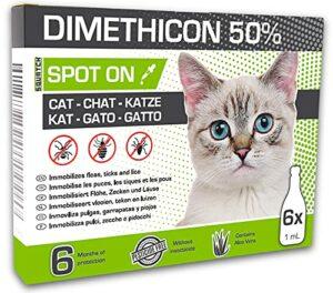SQUATCH®   DIMETHICON 50% Spot on  6 Pipettes Anti puces, Anti tiques et Anti poux pour Chats   sans insecticides, avec Aloe Vera   6 Mois de Protection