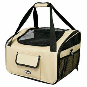 YATEK Porte-Animaux Pliable jusqu'à 9 kg pour siège de Voiture, Dimensions 41 x 35 x 26 cm, matériau Haute résistance Oxford 600D, Beige