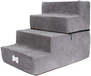 ZHBH Escaliers pour Animaux de Compagnie Rampe pour Chien Marches pour Chien en 4 étapes pour lit et canapé, Escaliers en éponge pour Rampe d'échelle pour Animaux de Compagnie avec Housse antidér